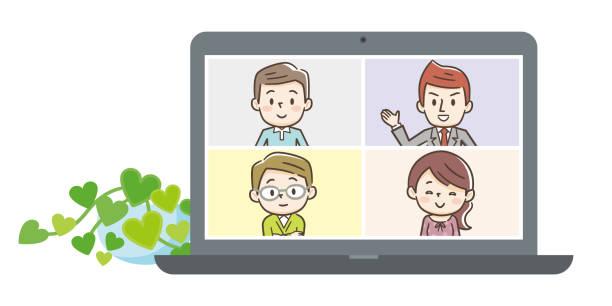 ラップトップ上のビデオ会議での人々のイラスト。ベクトル - テレビ会議 日本人点のイラスト素材/クリップアート素材/マンガ素材/アイコン素材