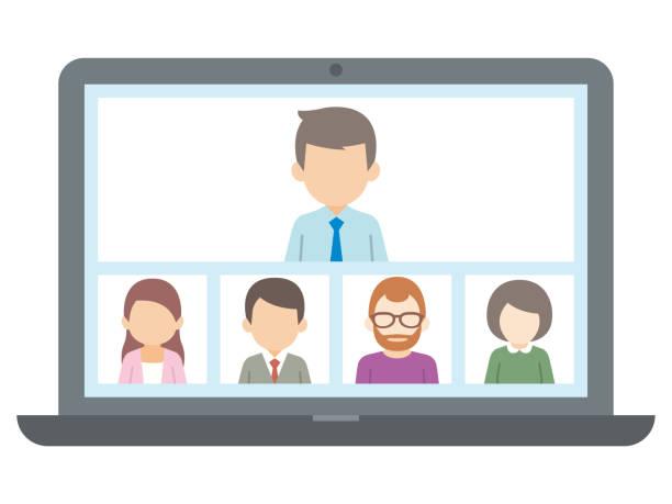 ラップトップ上のビデオ会議での人々のイラスト。ベクトル - オンライン会議点のイラスト素材/クリップアート素材/マンガ素材/アイコン素材