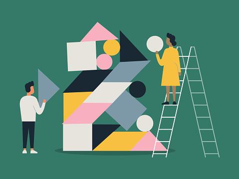 Illustration of people building with balanced shape blocks