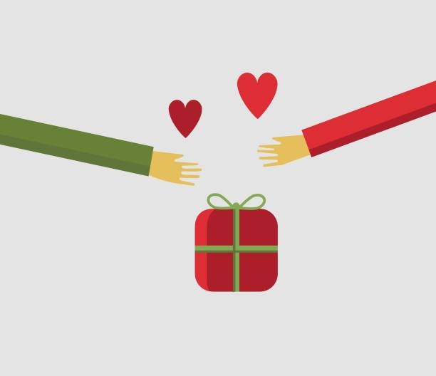 Illustration of people hands sharing a christmas gift with love vector art illustration