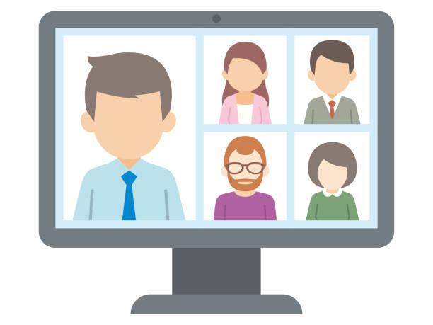 パソコンでのビデオ会議の人物のイラスト。ベクトル - テレビ会議 日本人点のイラスト素材/クリップアート素材/マンガ素材/アイコン素材