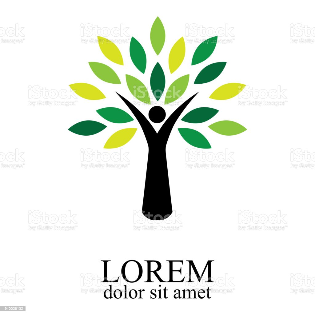 Illustration of people tree design isolated on white background. - Royalty-free Abstrato arte vetorial