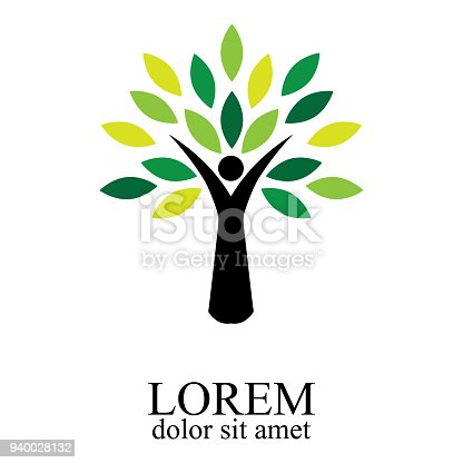 People tree icon with green leaves - eco concept vector. This graphic also represents environmental protection, nature conservation, eco friendly, bio technology, sustainable development & growth