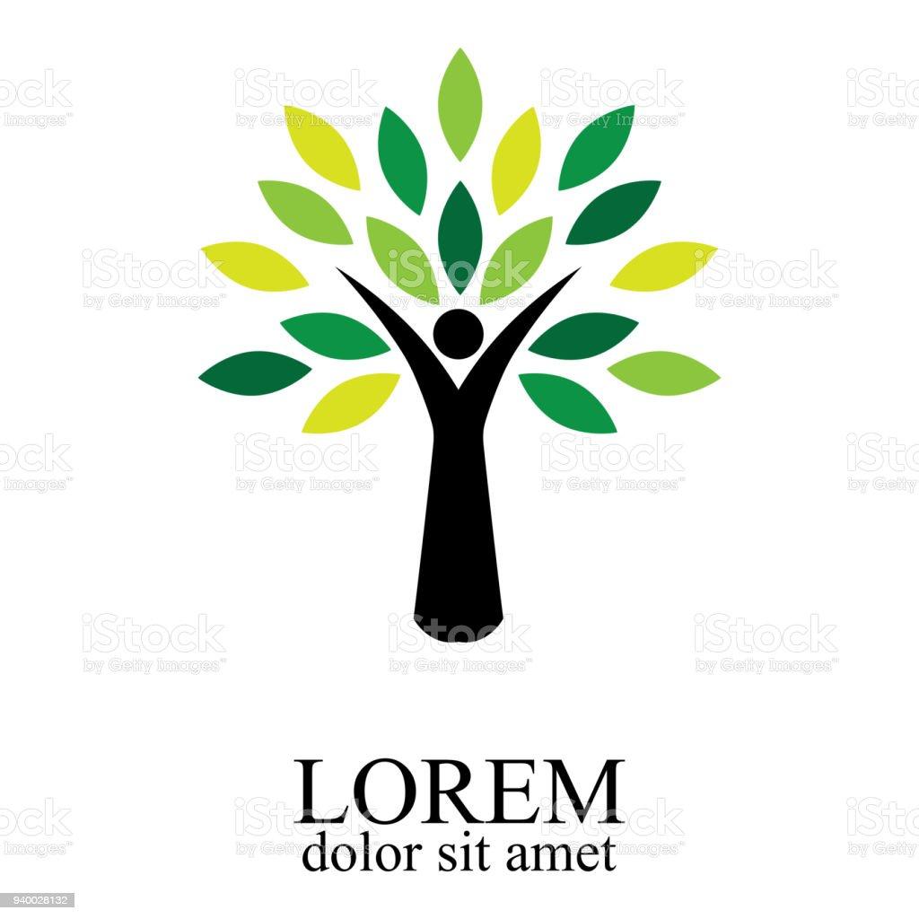 Illustration of people tree design isolated on white background. vector art illustration