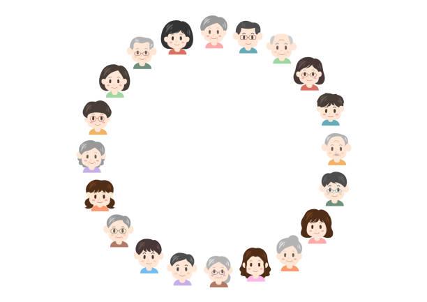 人 (円形) のイラスト - 家族 日本点のイラスト素材/クリップアート素材/マンガ素材/アイコン素材