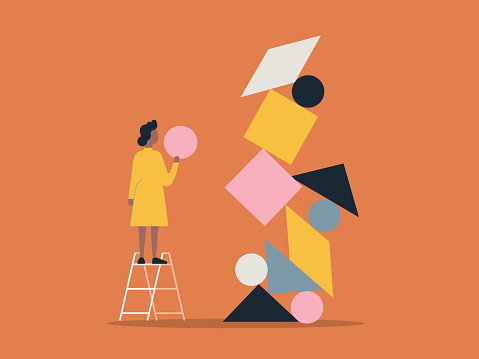 Illustration of person building with balanced shape blocks