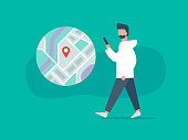 istock Illustration of person walking while using phone with navigation app 1266632913