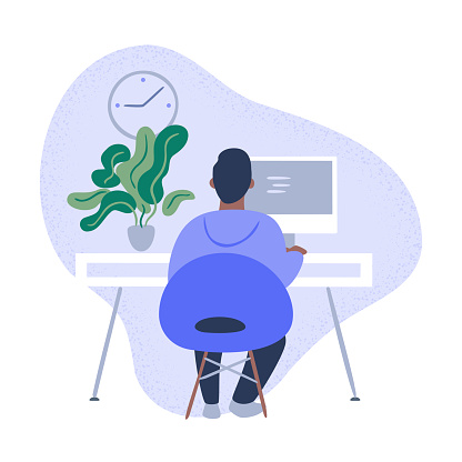 Illustration of person working in tidy modern office