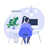 istock Illustration of person working in tidy modern office 1294693733