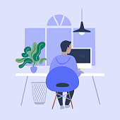 istock Illustration of person working in tidy modern office 1295823260