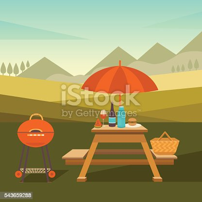 Vector illustration of a picnic in the park. Summer barbecues outdoors. Family weekend in nature. Collection of icons: barbecue grills, table with umbrella, basket, fruits, sandwich, wine and others.