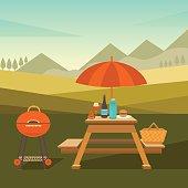 Illustration of picnic in park