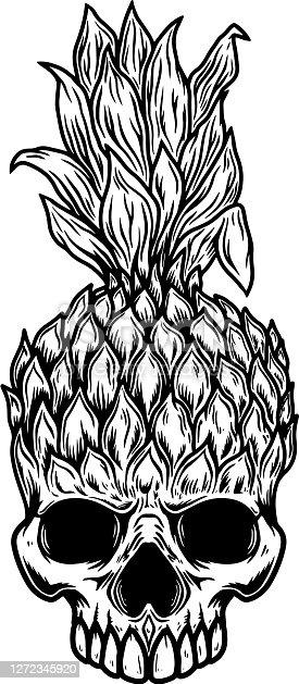 Illustration of Pineapple skull. Design element for poster, card, banner, t shirt. Vector illustration
