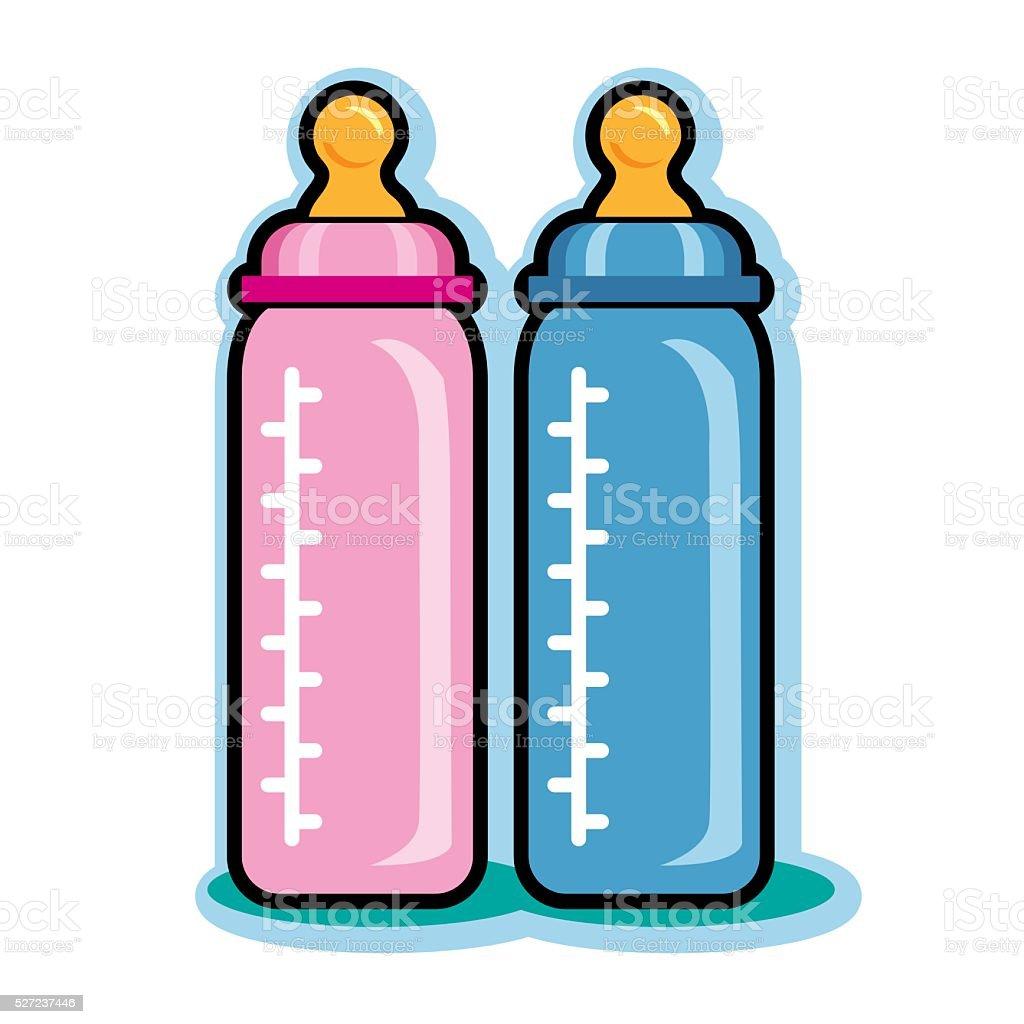 Illustration de rose et bleu bébé bouteilles - Illustration vectorielle