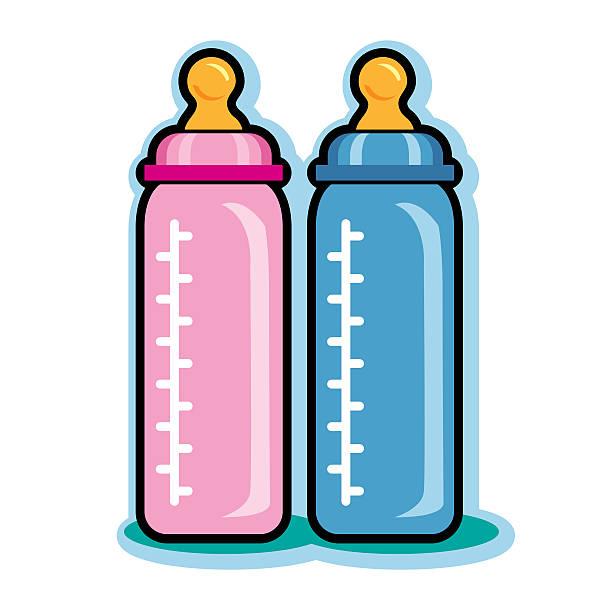 Illustration of pink and blue baby bottles vector art illustration