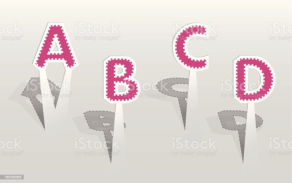 Illustration of pink paper letters royalty-free stock vector art