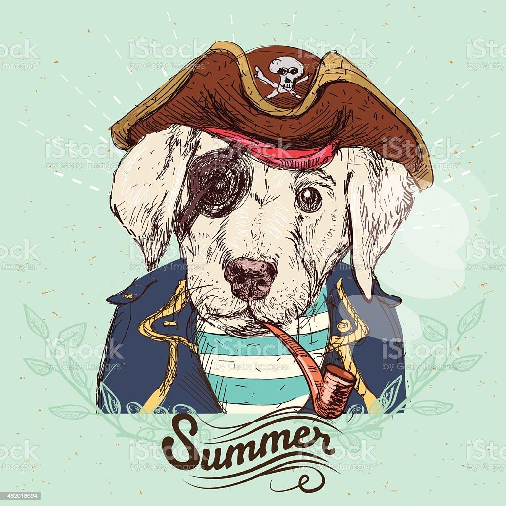 Illustration of pirate pug dog vector art illustration
