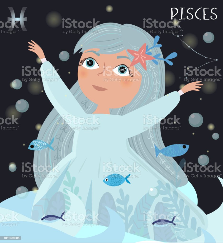 Illustration Of Pisces Zodiac Signs Character Stock Vector Art