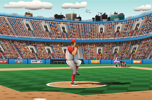 Illustration of pitcher in a baseball game