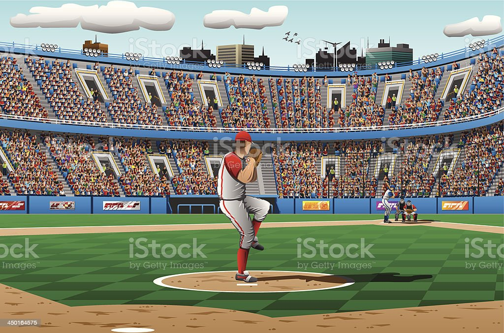 Illustration of pitcher in a baseball game vector art illustration