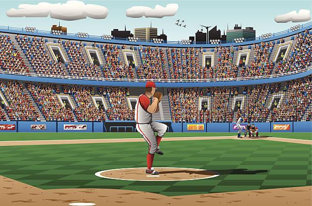 illustration of pitcher in a baseball game - baseball stadium stock illustrations, clip art, cartoons, & icons