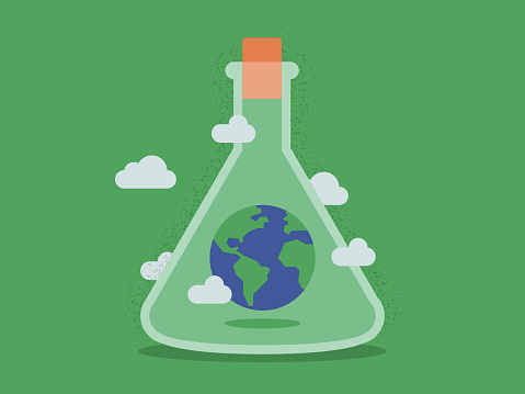 Illustration of Planet Earth Inside Laboratory Flask