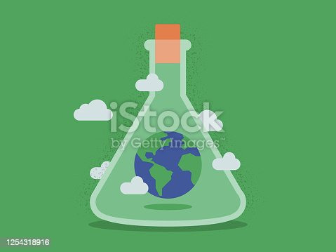 istock Illustration of Planet Earth Inside Laboratory Flask 1254318916