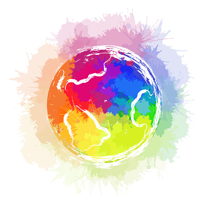 Illustration of planet earth with rainbow watercolor splashes and ink strokes on white background. The object is separate from the background.
