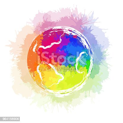 Illustration of planet earth with rainbow watercolor splashes and ink strokes on white background. The object is separate from the background. Vector element for your creativity