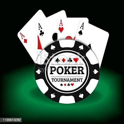 Illustration of poker tournament cards and chips on a green and black background. vector file
