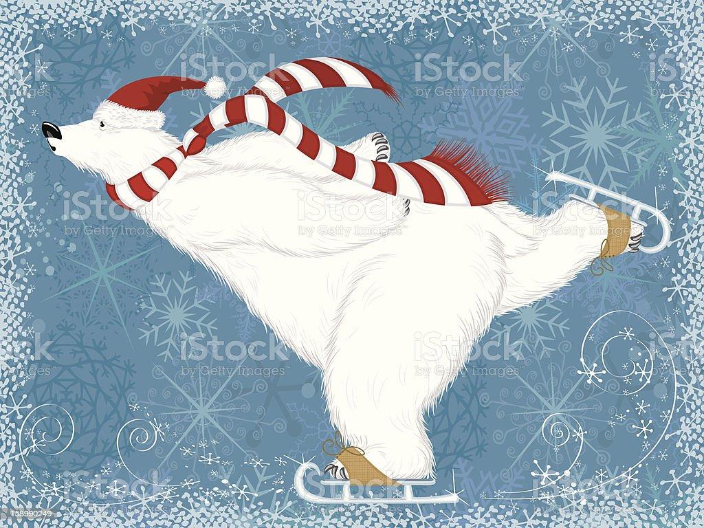 Illustration of polar bear ice skating in Christmas hat vector art illustration