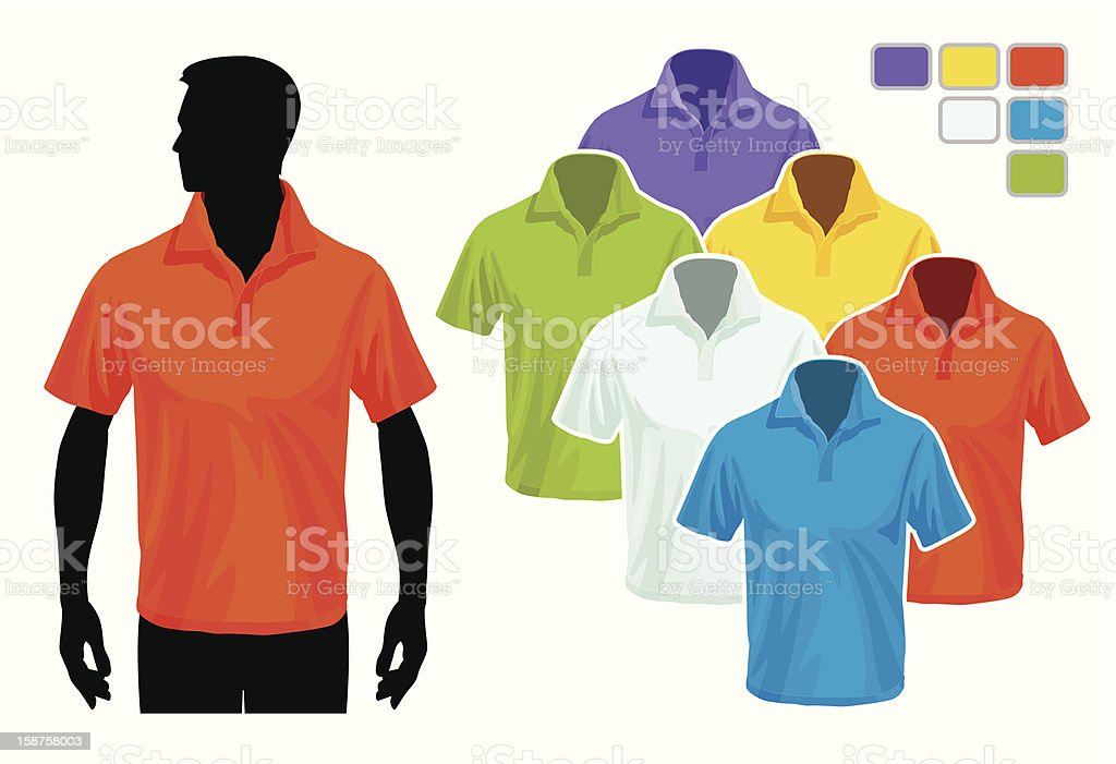 Illustration of polo shirt model with additional colors royalty-free stock vector art