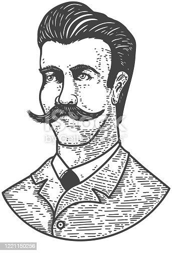 Illustration of portrait of gentleman in engraving style. Design element for poster, card, banner, flyer. Vector illustration