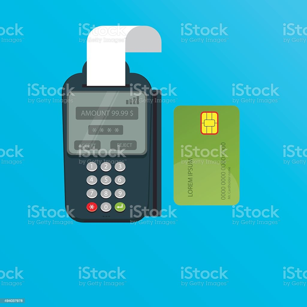 illustration of POS terminal and credit card vector art illustration