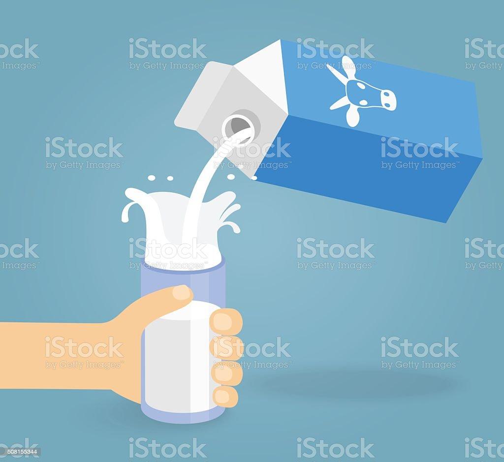 Illustration of pouring a glass and milk creating splash vector art illustration