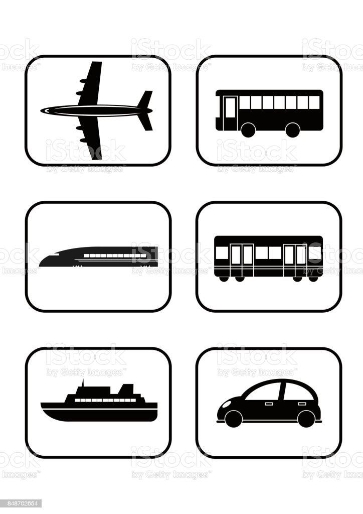 Illustration of public transport(icon) vector art illustration