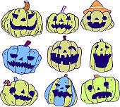Illustration of pumpkin set
