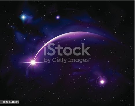 Illustration of purple shooting star with light trail
