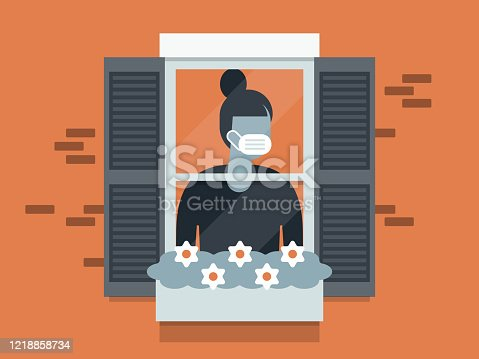 istock Illustration of quarantined young woman wearing face mask and looking out window 1218858734