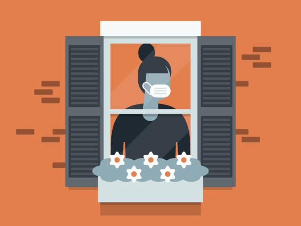 stockillustraties, clipart, cartoons en iconen met illustratie van in quarantaine geplaatste jonge vrouw die gezichtsmasker draagt en uit venster kijkt - solitair