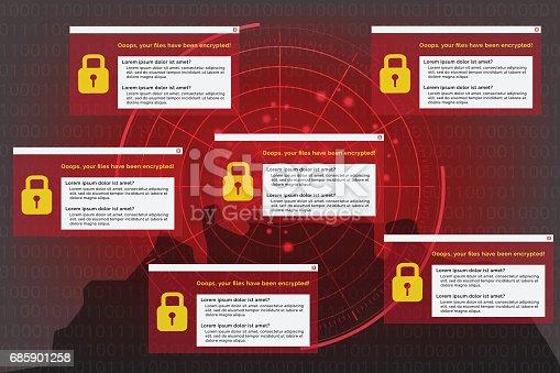 Illustration of radar detection on malware virus computer on background data that encrypt binary code. Hacker and WannaCrypt ransom malware computer concept.