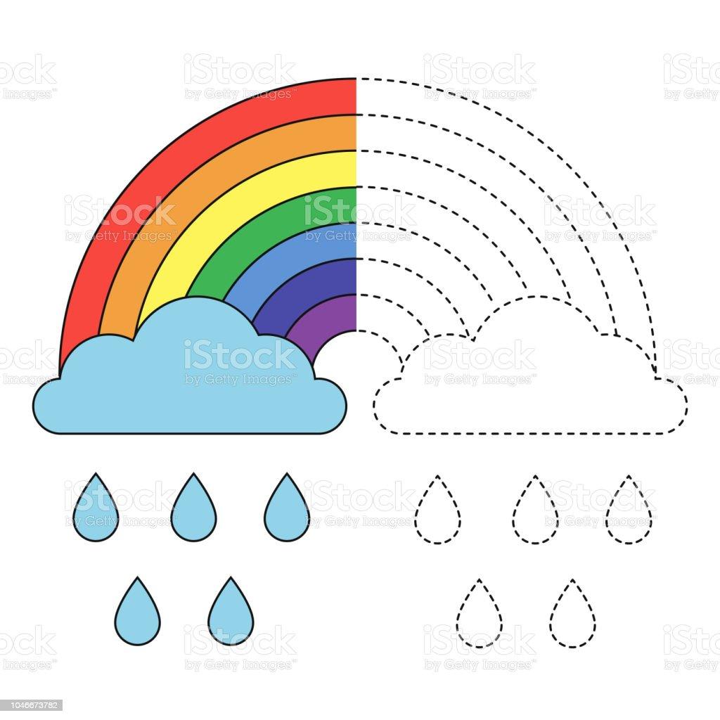 Ilustración De Ilustración Del Arco Iris Nubes Y Gotas De