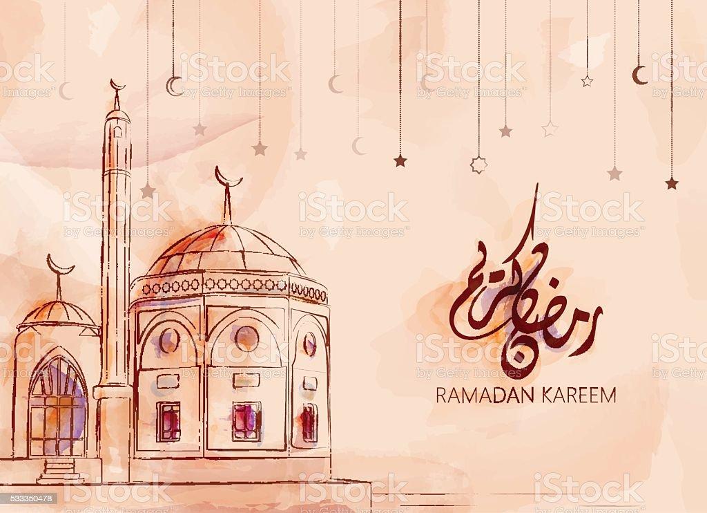 Abbildung eines Ramadan kareem und Ramadan mubarak – Vektorgrafik