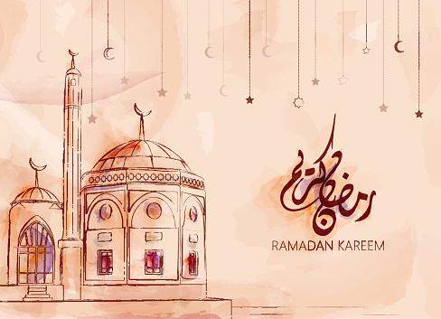 Illustration Of Ramadan Kareem And Ramadan Mubarak向量圖形及更多Ramadan Kareem圖片