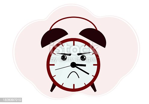 istock Illustration of red alarm clock with angry emotion 1328397010