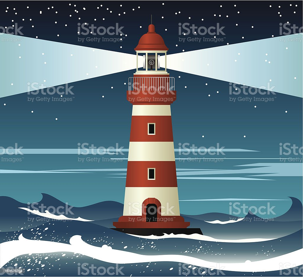 Illustration of red and white lighthouse surrounded by waves vector art illustration