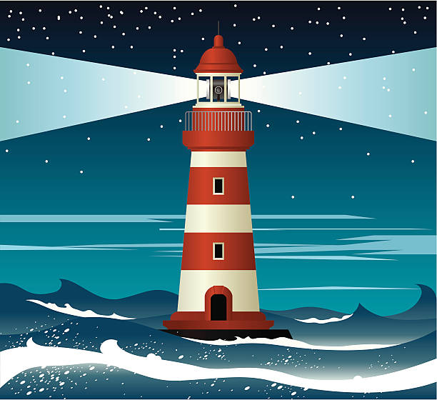 Illustration of red and white lighthouse surrounded by waves Lighthouse in the dark sea. Zip contains AICS2 and Pdf formats. lighthouse stock illustrations