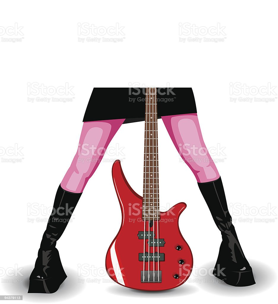 Illustration of red bass guitar and female legs royalty-free stock vector art