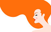 Vector illustration of beautiful woman with red hair