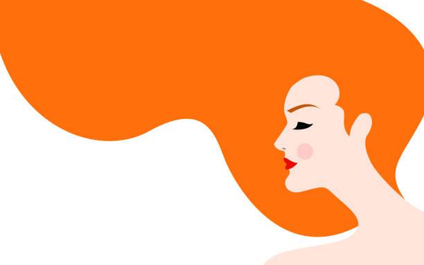 赤い髪の女性のイラスト - 髪型点のイラスト素材/クリップアート素材/マンガ素材/アイコン素材